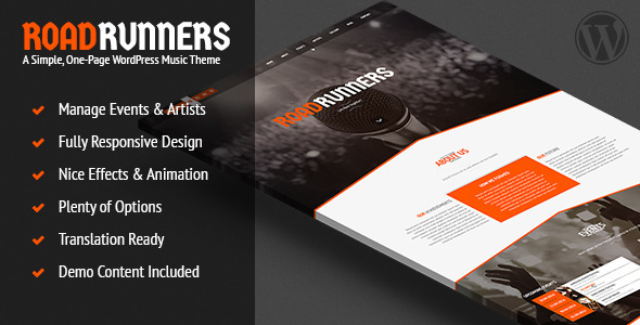 ThemeForest RoadRunners A One-Page Music WordPress Theme 7439860