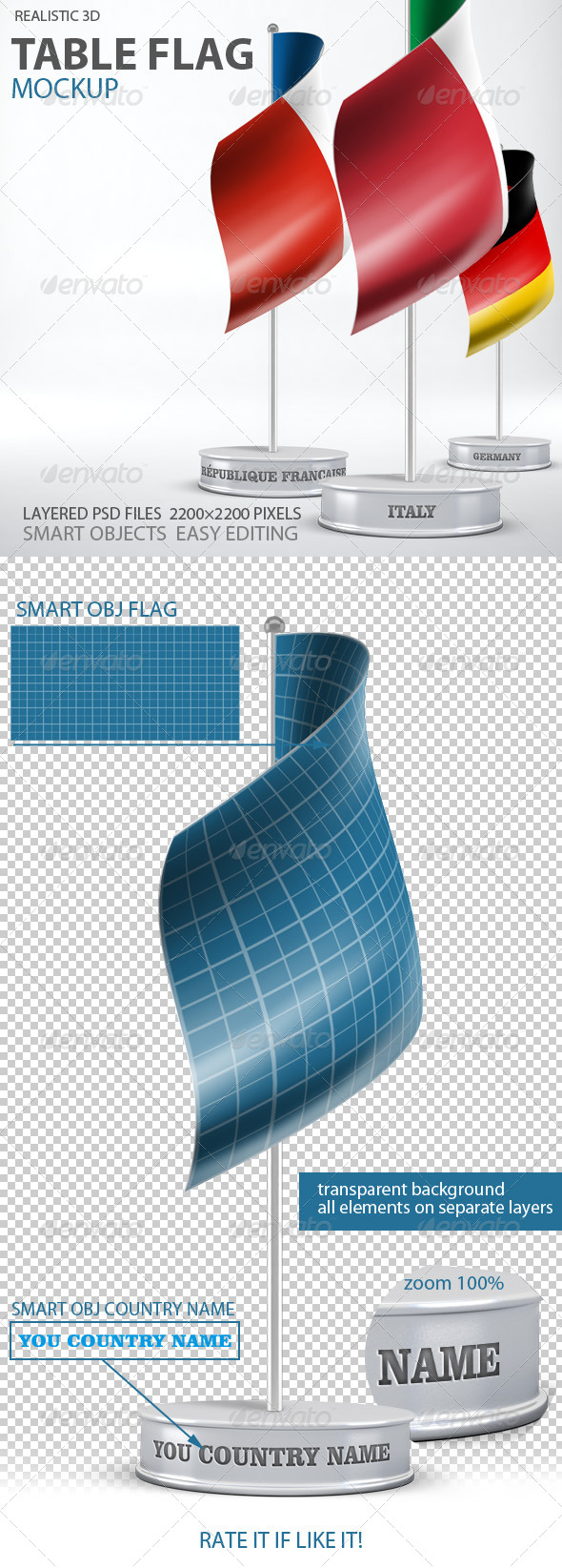 GraphicRiver Table Flag Mockup 7460062