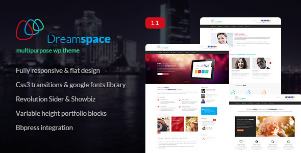 Dreamspace it's a multipurpose, modern wordpress theme designed for a large variety of sites and packed with both Revolution Slider and Showbiz Teaser pl