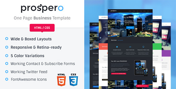 Prospero | One Page Business Template