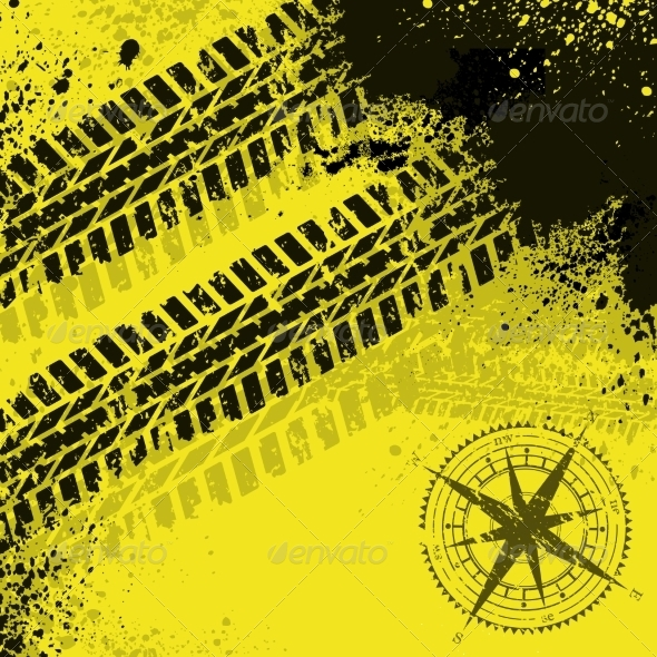 GraphicRiver Yellow Tire Tracks with Wind Rose 7460311