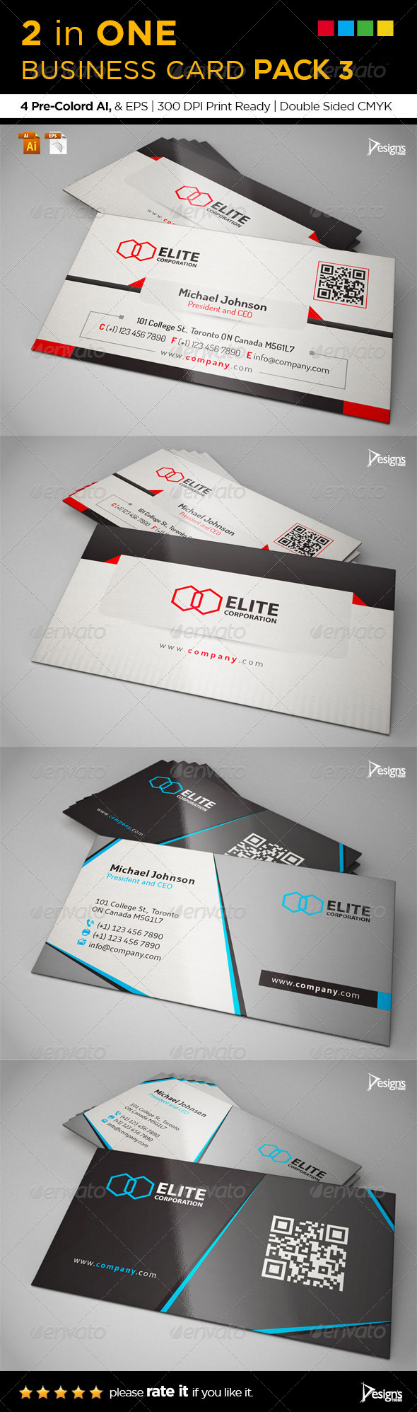 GraphicRiver 2 in One Business Card Pack 3 7417117