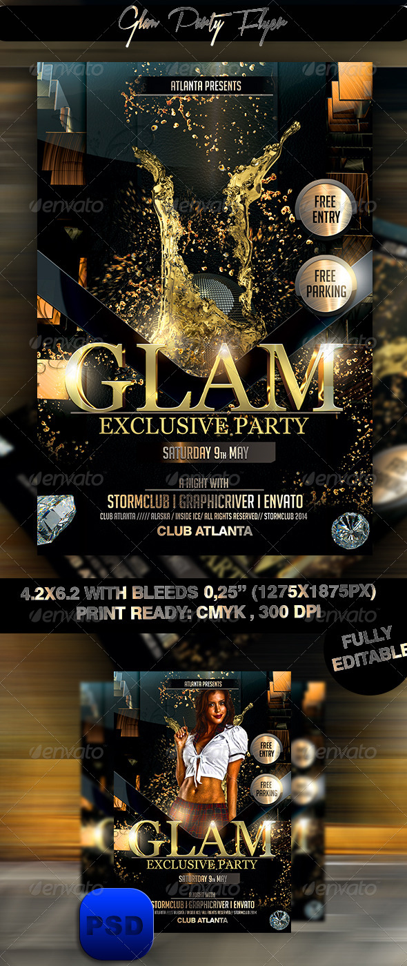 GraphicRiver Glam Party Flyer 7460812