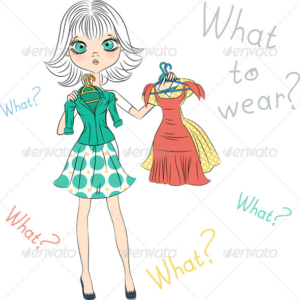 GraphicRiver Surprised Fashion Girl Trying on Dress 7461265