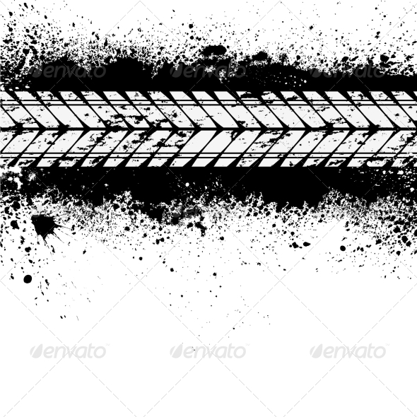 GraphicRiver Tire Track on Ink Blots 7461331