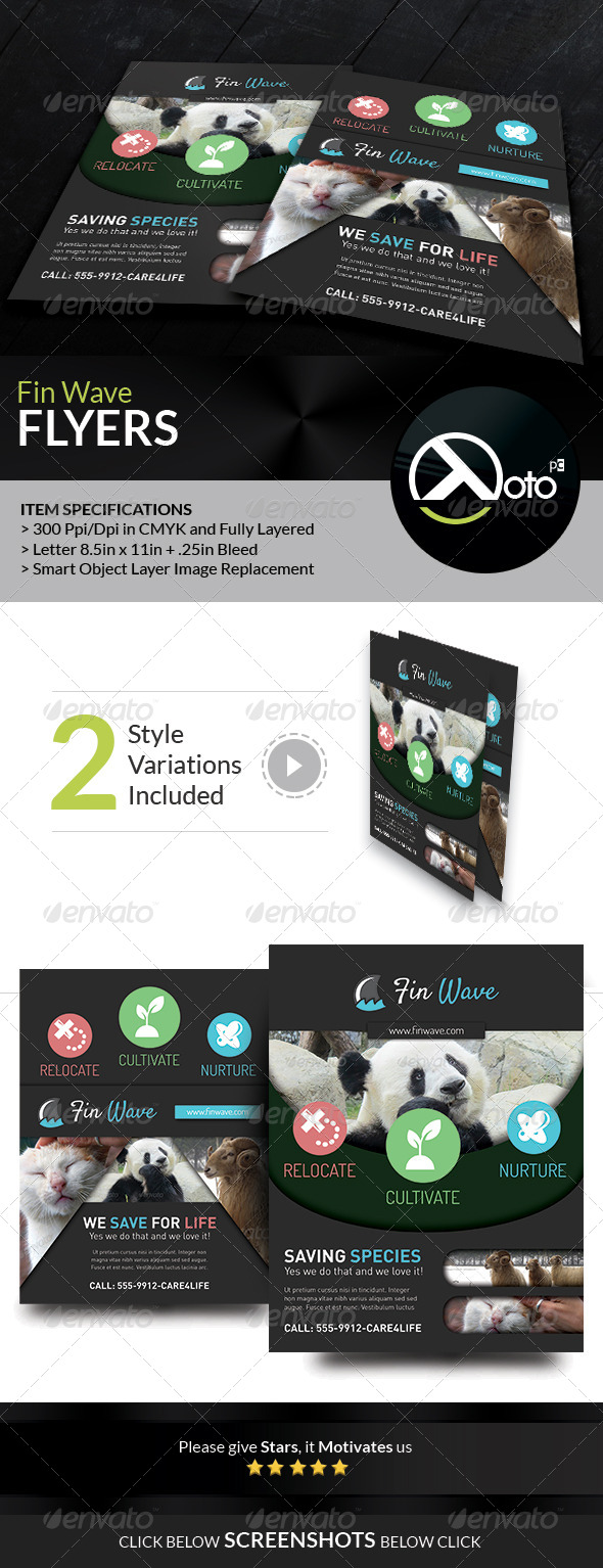 GraphicRiver Fin Wave Wildlife Rescue Flyers 7461343