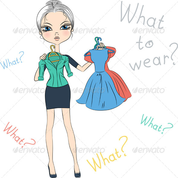 GraphicRiver Fashion Girl Trying on Dresses 7461512