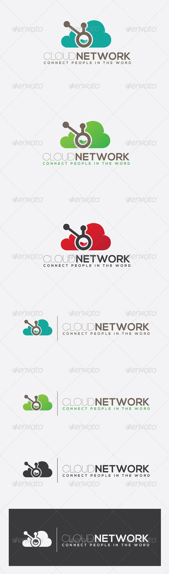 GraphicRiver Cloud Network Logo 7461609