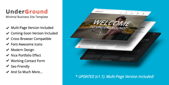 UnderGround - Minimal Onepage & Multipage Template - Screenshot 1
