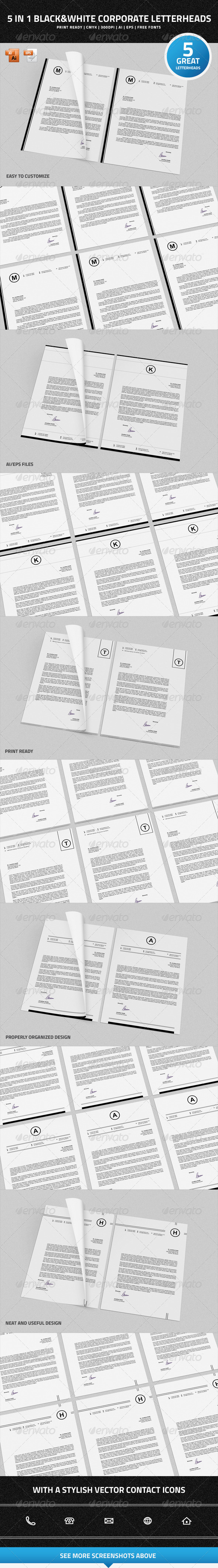 GraphicRiver 5 in 1 Black & White Corporate Letterheads 7462066