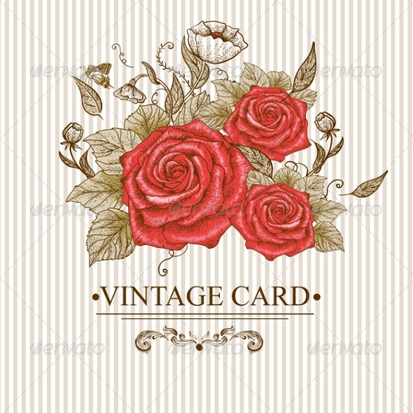 GraphicRiver Vintage Floral Card with Roses and Butterflies 7462411