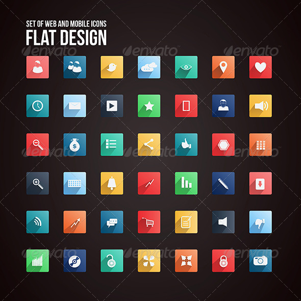 GraphicRiver Universal Flat icon set for Web and Mobile 7462511
