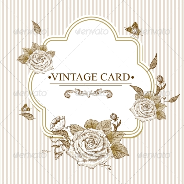 GraphicRiver Vintage Floral Card with Roses and Butterflies 7462513
