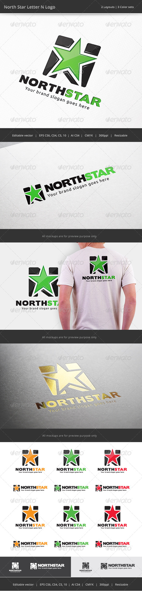 GraphicRiver North Star Letter N Logo 7463113