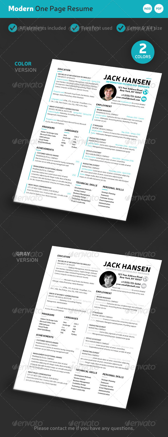 GraphicRiver Modern One-Page Resume 7463576