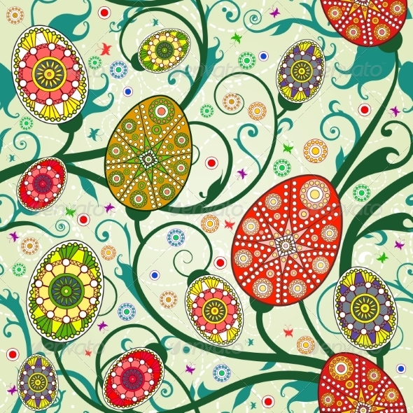GraphicRiver Seamless Spring Pattern with Easter Eggs 7464639