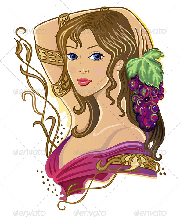 GraphicRiver Girl with a Bunch of Grapes 7464753