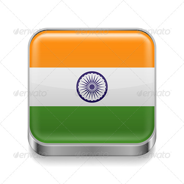 GraphicRiver Metal Icon of India 7465114