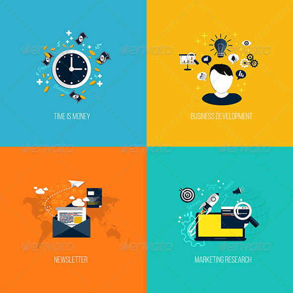 GraphicRiver Icons for Time is Money Business Development 7465936