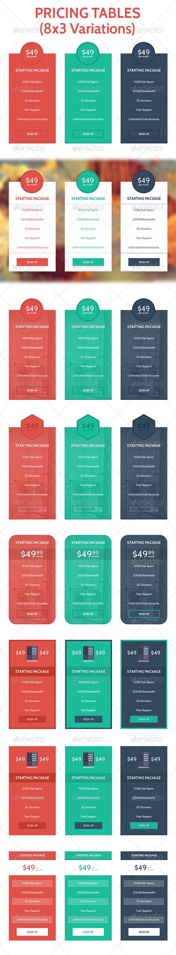 GraphicRiver Flat & Modern Pricing Table Set 24 Variations 7466086