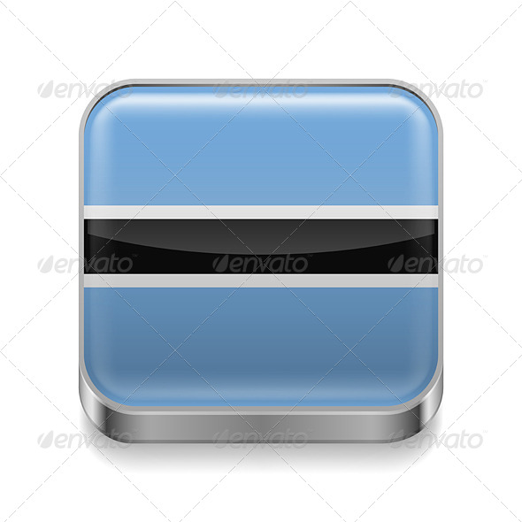 GraphicRiver Metal Icon of Botswana 7466090
