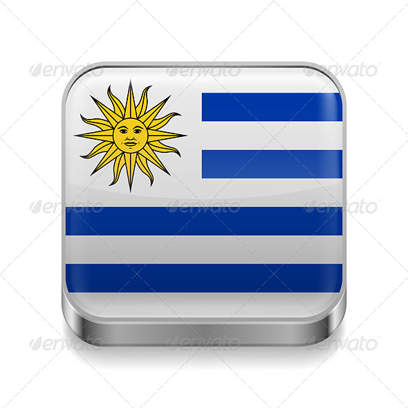 GraphicRiver Metal Icon of Uruguay 7466099