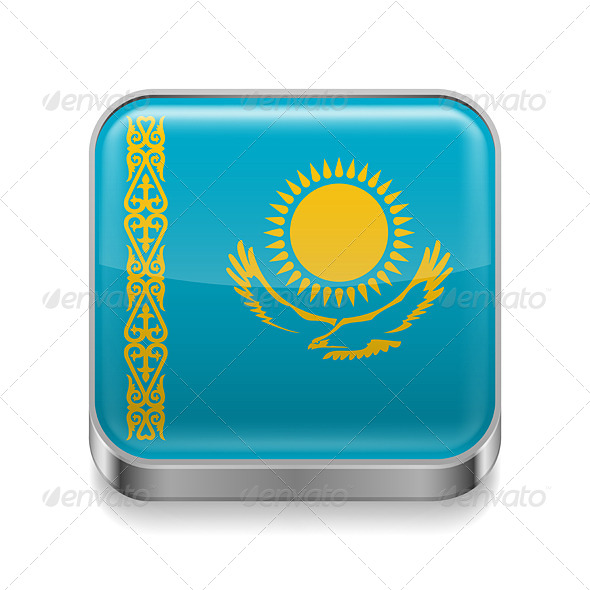 GraphicRiver Metal Icon of Kazakhstan 7466120