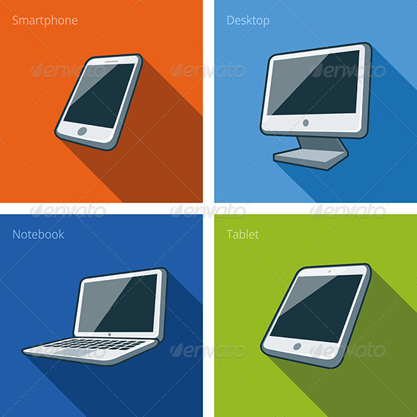 GraphicRiver Screen Computer Devices Illustration with Smartphone 7466176