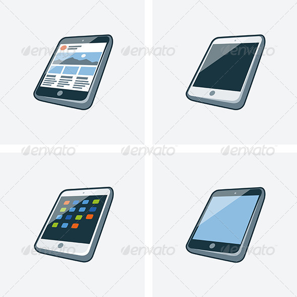 GraphicRiver Set of Four Tablet Icons 7466184