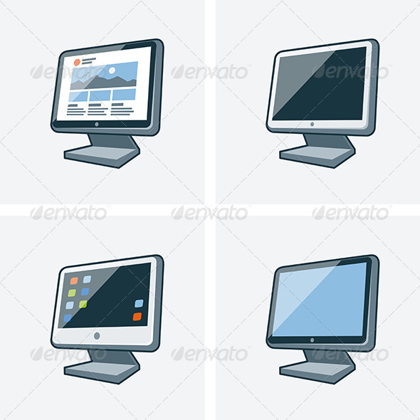 GraphicRiver Set of Four Desktop PC Monitor Icons in Cartoon 7466192