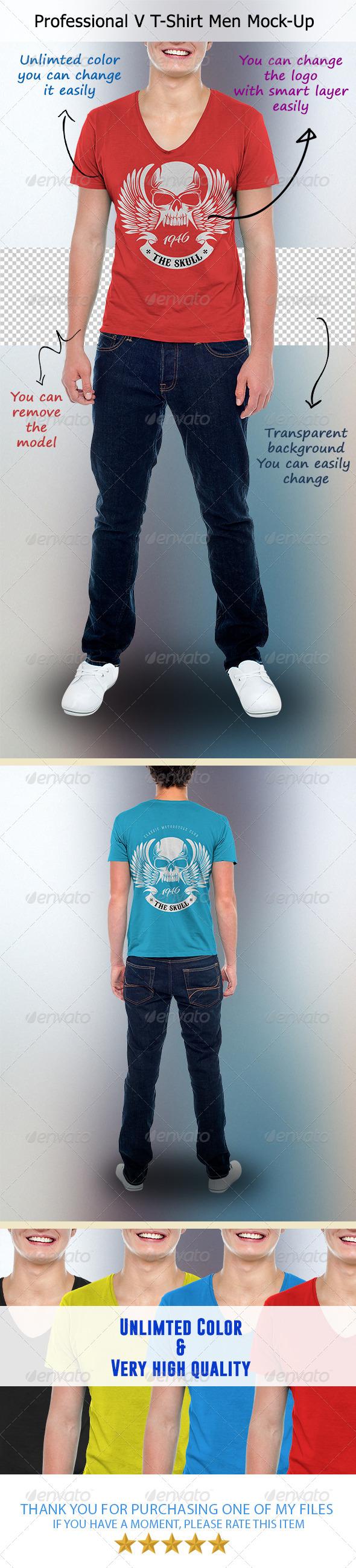 GraphicRiver Professional V T-Shirt Men Mock-Up 7466248