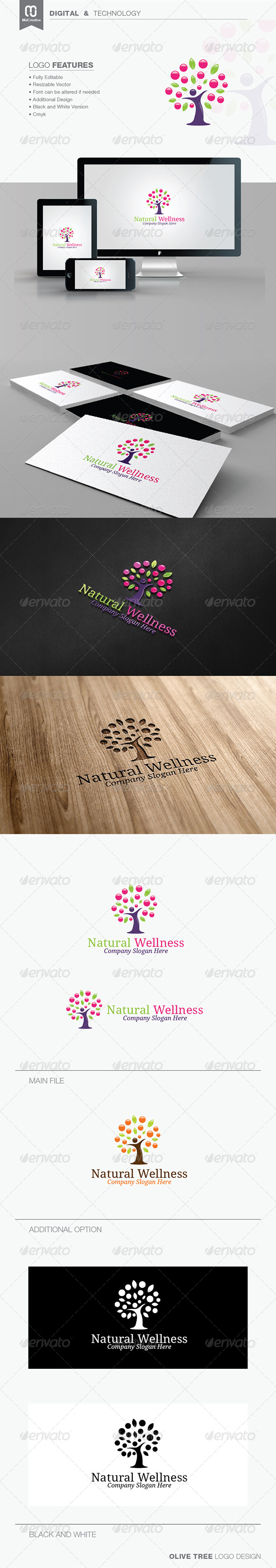GraphicRiver Natural Wellness & Olive Tree Logo 7466991