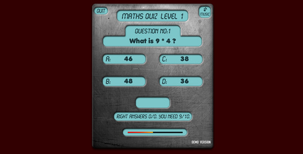 Maths Quiz v2 Game - ActiveDen Item for Sale
