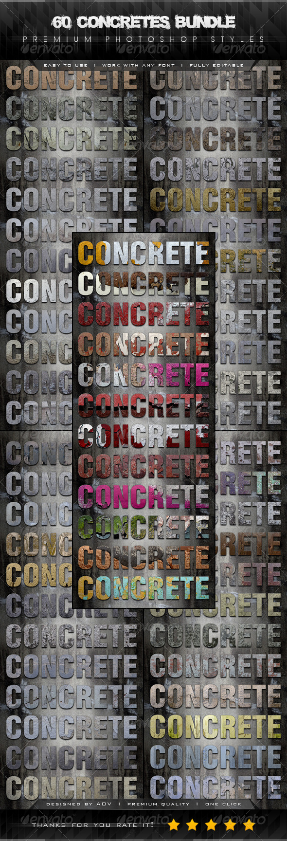 GraphicRiver 60 Concretes Text Effect Styles Bundle 7467863