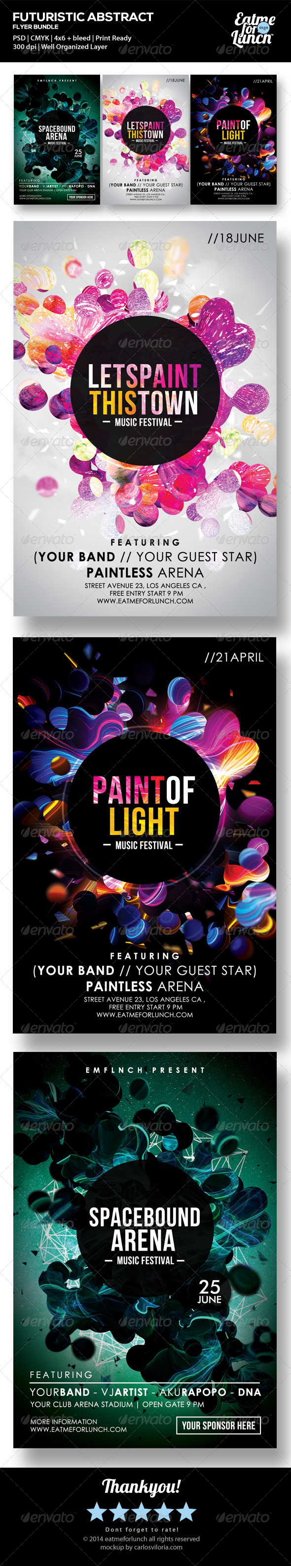 GraphicRiver Futuristic Abstract Electronic Vol.1 Flyer Bundle 7468696