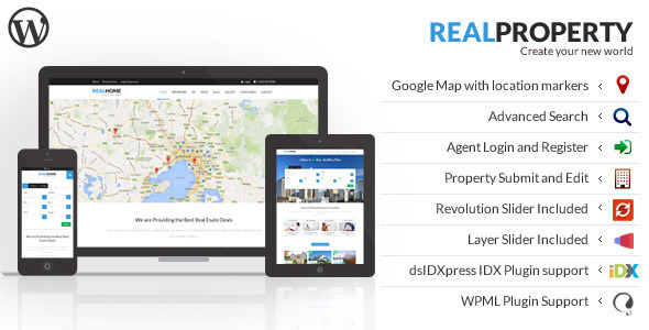 ThemeForest Real Property Responsive Real Estate WP Theme 7421569