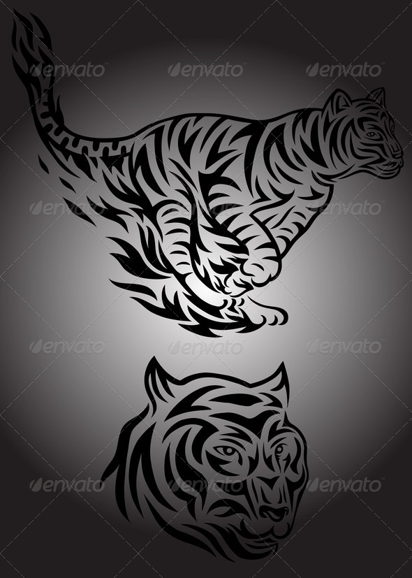 GraphicRiver Tiger Jumping Fire 7468934