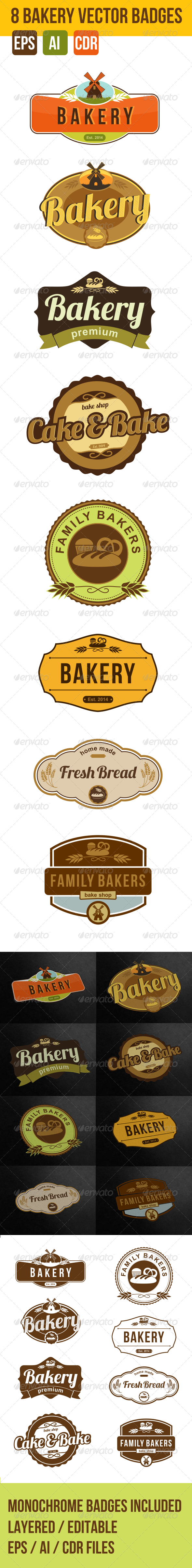 GraphicRiver 8 Bakery Vector Logo Badges 7469019