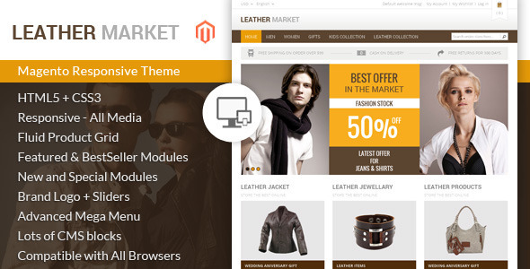 If you like our themes, please don't forget to rate it. This helps us a lot Template ID : MAG090158 Leather Market Magento Template is specially design f