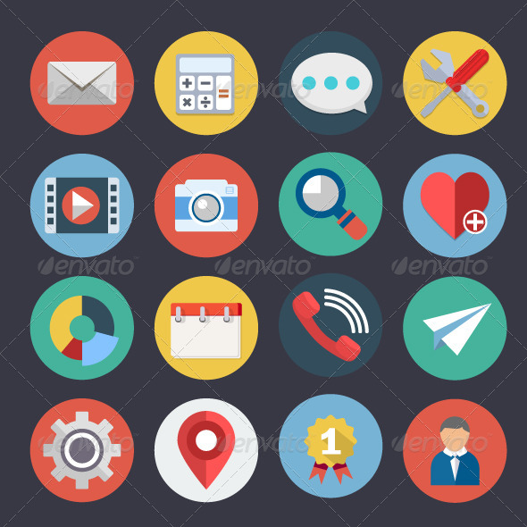 GraphicRiver Flat Icons for Web and Applications Set 4 7469318