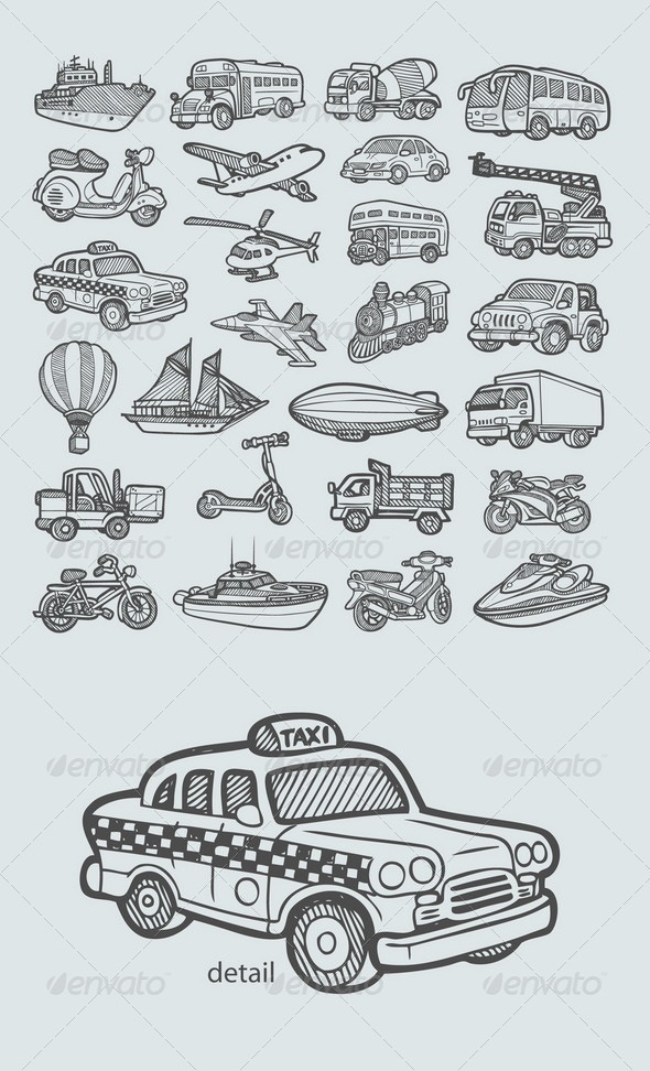 Transportation Icons Sketch - Man-made objects Objects