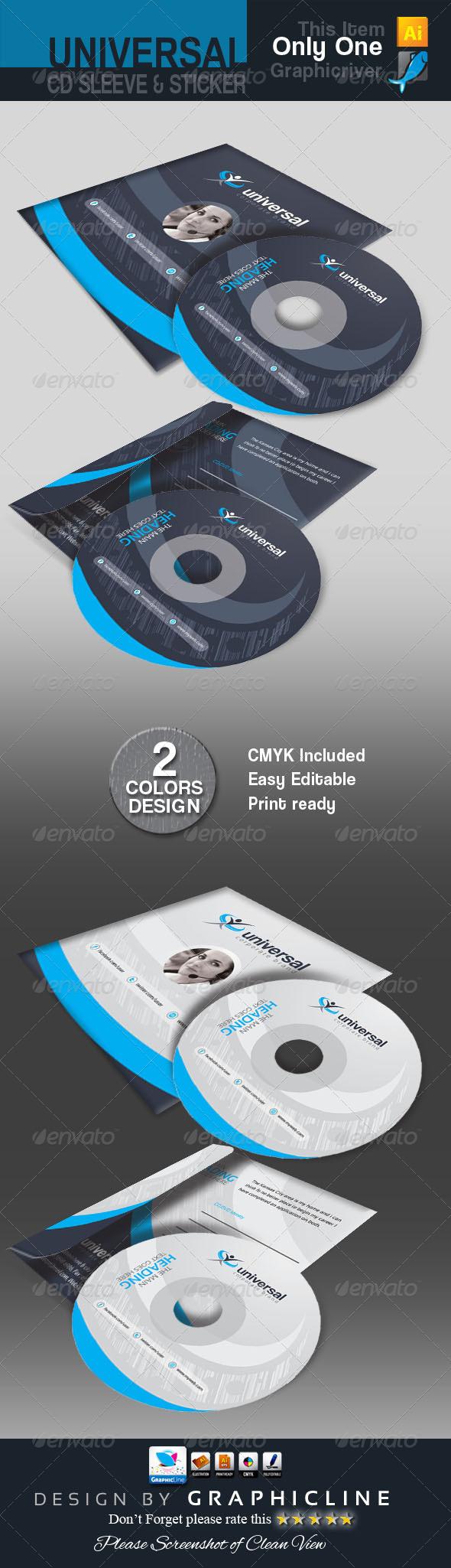 GraphicRiver Universal CD Sleeve & Sticker Design 7469926
