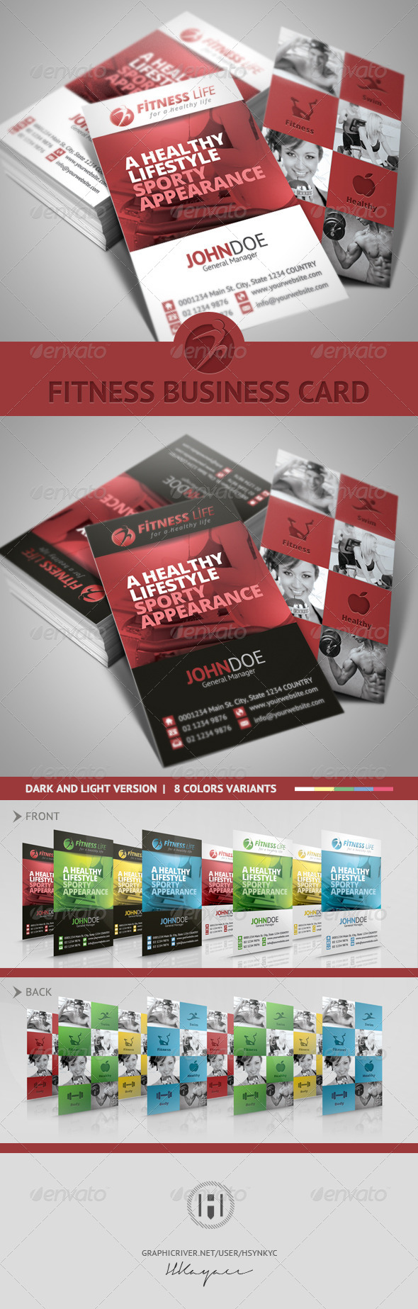 GraphicRiver Fitness Business Card 7470302