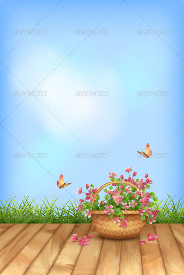 GraphicRiver Vector Summer Flowers Natural Background 7472060