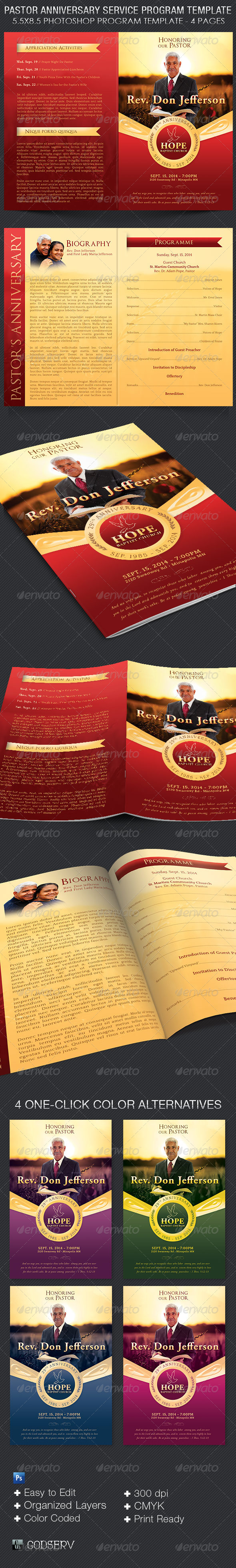 Pastor Anniversary Service Program Template - Informational Brochures
