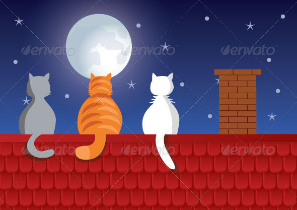 GraphicRiver Cats and Moon 7472908