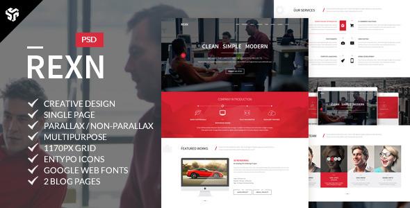 Rexn | Multi-Purpose Parallax PSD Landing Page