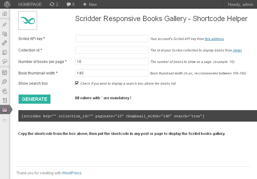 Scridder - Responsive Books Gallery