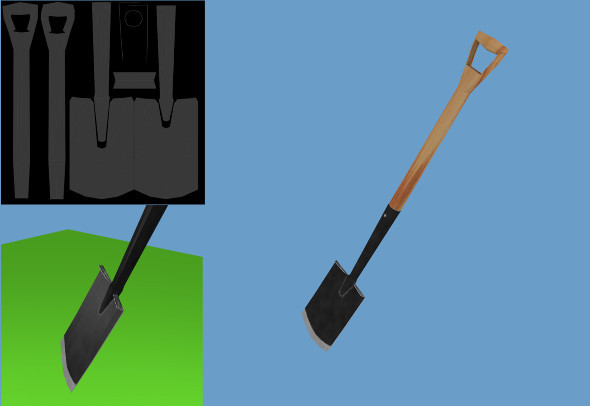 Low Poly Spade - 3DOcean Item for Sale