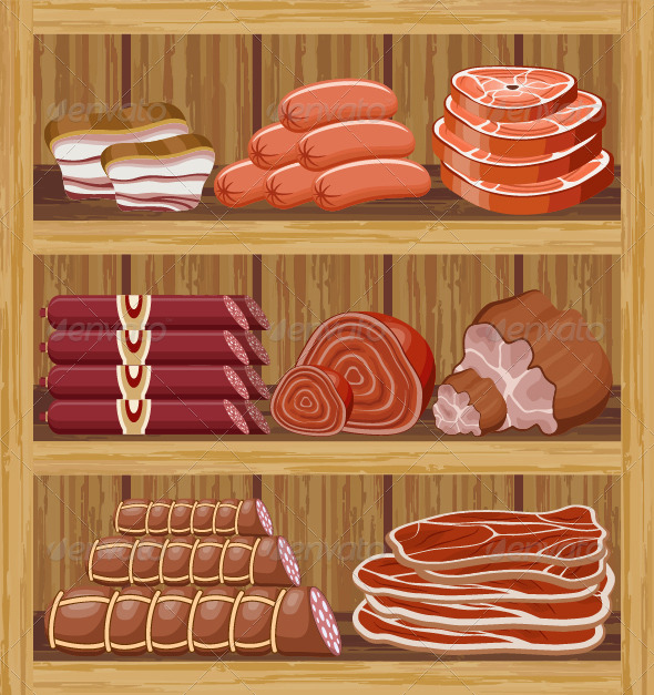 GraphicRiver Shelves with Meat Products 7479727